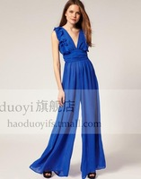 sexy deep v-neck chiffon high-waist jumpsuit with ruffles free shipping for epacket and china post air mail