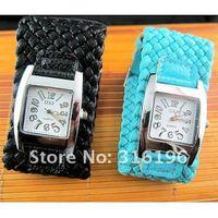 New design cheap Korean fashion Braided Leather Cord watch 1pcs lot free shipping