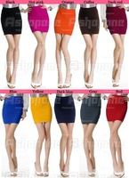 10x Womens Ladies Cany Color Bodycon Bandage Stretch Ribbed Panel Mini Skirt Free Shipping