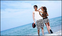 Женские пляжные шорты! Zebra strip beach shorts fashion beach pants for men and women Couple pants for travel 2pcs package Best price