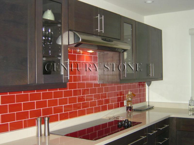 3x6 Red Crystal Subway Tile Kitchen Glass Splashback Buy