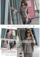 Women's dress Fashion sexy Cotton loose Korean wild dress - 6221