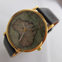 Mini order=$10.00, 2013 new styles, leather watches with World map watch, Australia Map,wholesale Unisex watches wrist watch #53