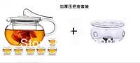 чайник стеклянный 500 мл, высокое сопротивление стекла чайник с фильтром + 6 двойной стены стекло кофе чай Кубок + 1 с подогревом + 2 маленькую свечу