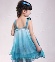 Платье для девочек Fashion Cute Kids Children teen Girls Chiffon Satin Flower short Summer Dress