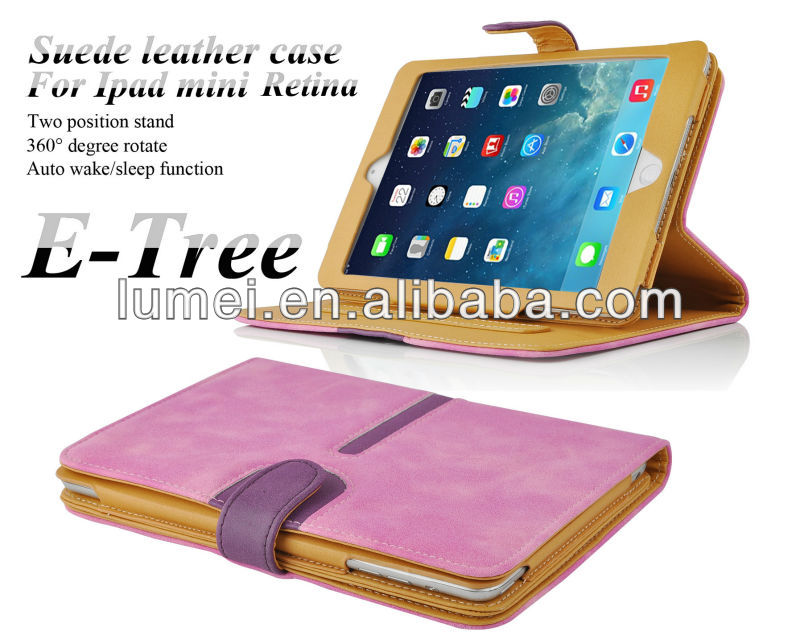 360 degree rotate suede smart leather case cover for ipad mini retina 2