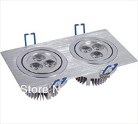 6W FREE SHIPPING 10pcs/lot Two Heads 2*3W Embeded LED Grid Light Aluminum Housing High Quality