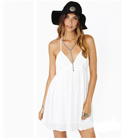 Женское платье! White Lady Sexy Deep V-neck Backless Spaghetti Strap Halter Mini Dress New
