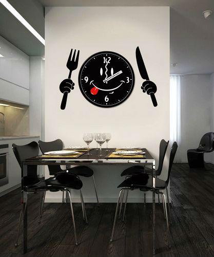 Antique couteau et une fourchette vinyle d coration - Horloge de cuisine design ...