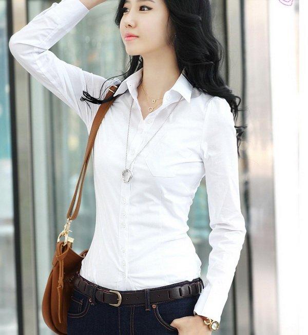 Latest fashion slim long sleeve office ladies shirt blouse buy