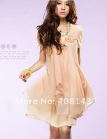 2012the Korean version of the new spring loading code package hip skirt dress short loose Chiffon Dress