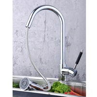 Мебель для кухни And Retail Chrome Solid Brass Water Power Pull Down Kitchen furniture Faucet