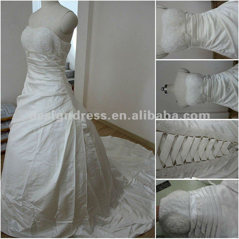 Hot sale cheap price A-line strapless beaded bust ruched corset white/ivory satin bridal wedding dress made in China M30X