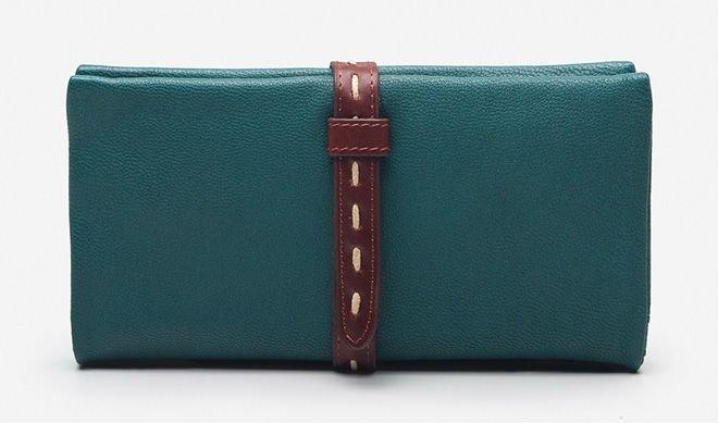 Summer long section of retro women's sheepskin purse wallet leather