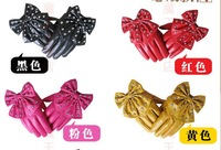 Женские перчатки из кожи Lady gaga simulation leather star of rivet big bowknot ladies fashion gloves