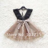Женское платье 2012 2012 spring special sweet lace bow accordion V neck waist gauze skirt dress women dresses