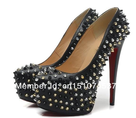 Aliexpress.com : Buy black leather platform pumps high heel red ...