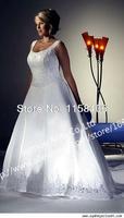 Винтаж линии рукавов белого плюс Размер свадебное платье низкая задняя pw005