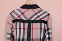 Женская футболка A120 New arrvial Women's Brand Fashion Plaid Long sleeve PU leather Collar OL blouse Shirts Ladies Conjoined Formal twin shirt