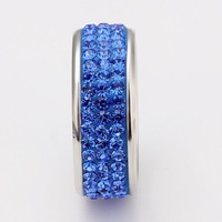 Кольцо Quality 8MM 18KGP White Gold Engagement Ring, Full Blue Austrian Rhinestone Crystals Rings