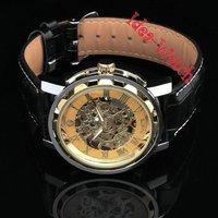 Наручные часы HOT! Men's Luxury Golden Skeleton Case Metal Mechanical Wrist Watch XMAS Gift