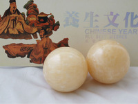 Товары для спорта Baoding stone balls, jade yellow 55mm.Palm exercise stress relief balls.Health care products.Marble baoding balls.Red paper box