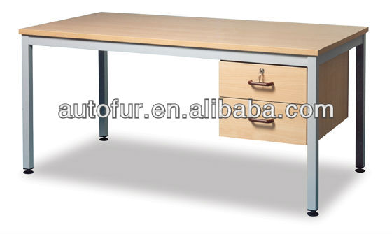 Robust wood top steel frame office computer desk