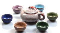 Посуда 7PCS/Tea Set new 7 color Crackle Glaze chinese tea set ceramic kung fu tea set teacup&gifted packing