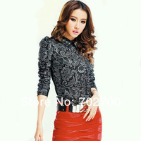 2013 Autumn New Fashion Lace Crochet Top Women Long Sleeve Embroidery Blouse Free Shipping