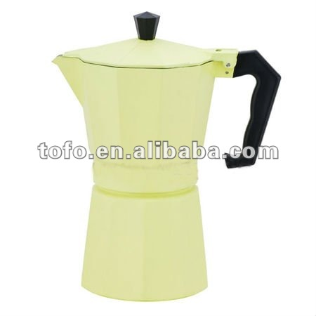 italian-style espresso aluminum coffee maker with nature color