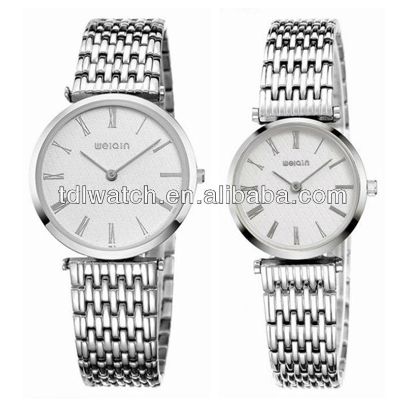 Nome Da Marca de Alta Qualidade de Aço inoxidável Relógios Para Casais