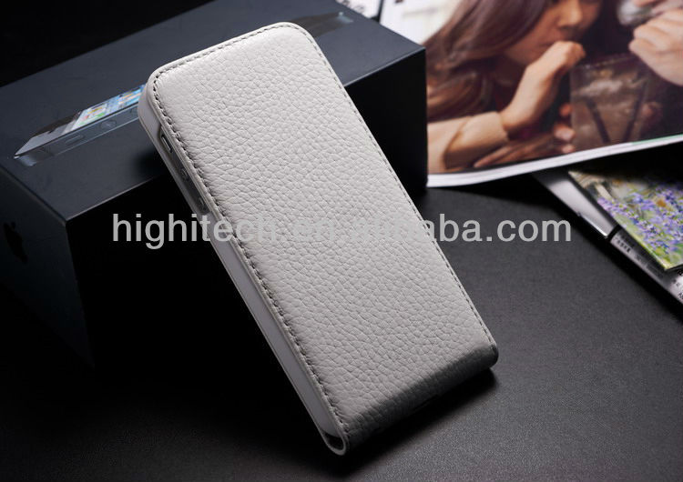 Real Cow Genuine Leather Flip Case for iPhone 5 5G