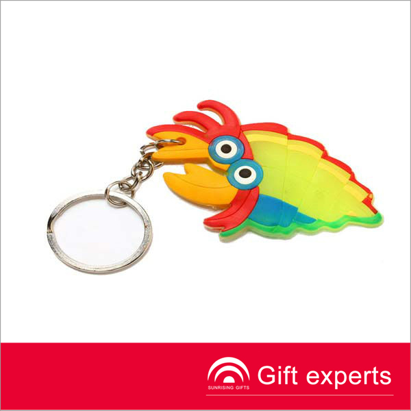 Best selling tropical fish shaped yellow logo printed Silicone keyring