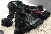 2013 winter new woman fur coat Long design fox fur collar pigskin leather fur coat