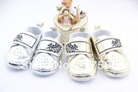 Retail Silver Golden soft baby shoes,cute boy girl baby casual shoes 3 size Free shipping