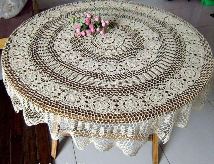 63 Inch 160CM Round Beige Vintage Handmade Crocheted Tablecloths