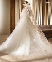 Low price new style custom made ivory lace wedding dress