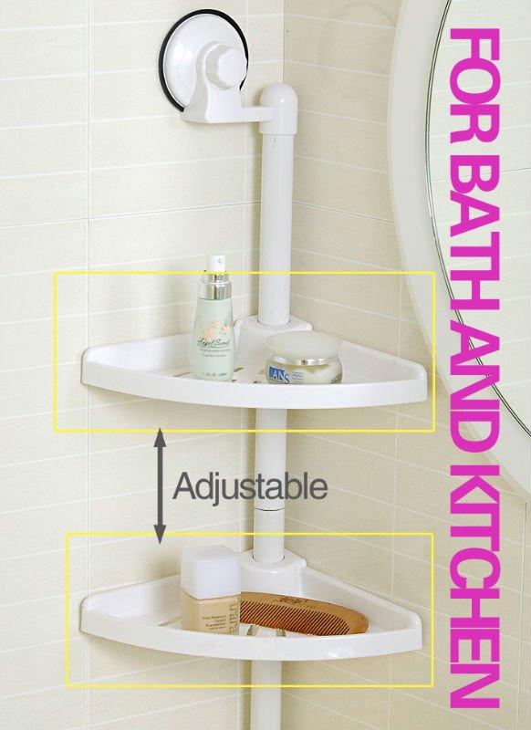 Amazing Bathtub Amp Shower Pole Corner Caddy 4 Shelves White Plastic Bathroom
