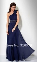 2012 Sexy Beads Pleated One Soulder Chiffon Floor Length Prom Dresses Evening Dress Bridesmaid Gowns