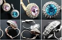 Мода леди позолоченные cz кристалла горный хрусталь круглые серьги 4colors падение ювелирных изделий