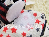 Hot selling 4 color 3pairs/lot star style Anti slip baby prewalker shoes Toddler Infant's Footwear  wholesale  580623L