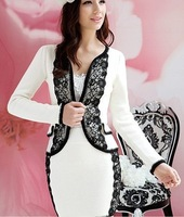 Женская куртка S-L Manufacturers supply new fashion Women's white lace jackets and coats +skrts 2pcs set #W6665