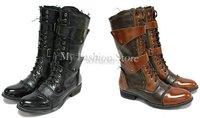 Мужские сапоги обувь, рок зашнуровать патентных мыс пряжки ремень кубинской ковбойские сапоги, размер 39-44