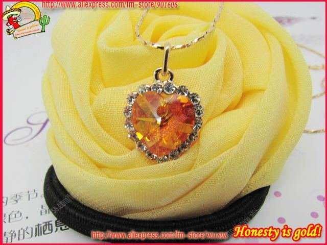 HOT HOT!Free shipping Guaranteed 100% Italina brand necklace Heart of Ocean Citrine Pendant Necklace,fashion jewelry.so beauty