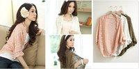 Короткий женский свитер New Hot Fashion Korea Design Women Hollow Sweater Shawl Shrug Jacket Lady Casual Sweet Knitwear Cardigan