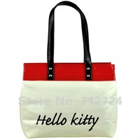 Free Shipping! Fashion Red&White Ladies PU Leather Hello Kitty Hand Shoulder Bag Purse Shopping Tote