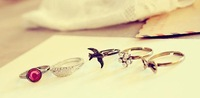 Min.order is $15 (mix order) R024 Freeshipping,Fashion jewelry,Alloy plated,Ancient wings gem bow swallows Set of five  ring