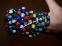Браслет из бисера SHB106 fashion red CZ rhinestone beads bracelets 2013 world popular handmade shamballa disco ball jewelry 5pcs/lot