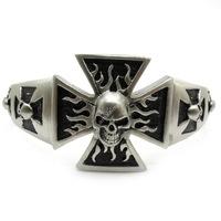 Min Order $ 20(mixed Order) Mens Dull Polish Cross Flame Skull Heavy Bangle Biker Bracelet Stainless Steell New Arrive Gift