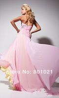 Custom Made Beaded Detail Long Strapless Two Tone Chiffon Dress